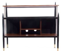 E Gomme for G Plan, 1950's 'Librenza' teak and black painted side unit with ply panelled back to