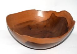 Shaped wooden bowl, turned yew wood by Mike Foster, 24cm diam