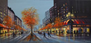 AR James Stewart (contemporary), Street scene (probably Paris), acrylic on canvas, signed lower