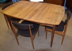 Mid-century teak table and chairs by Vanson, the table with spare leaf, 180cm fully extended