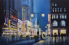 AR James Stewart (contemporary), Street scene (probably New York), acrylic on canvas, signed lower