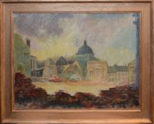 "S Barker (20th century), ""The rape of the lace market"", oil on board, signed lower right, 34 x 45cm"