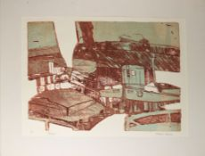 "AR Robert Barnes, (born 1947) ""Barges"", coloured etching, signed, numbered 11/12 and inscribed"