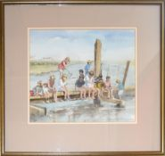 AR Mary Gundry (20th century), Children on a jetty, watercolour, signed and dated 1991 lower