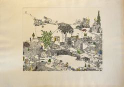 "Urban (20th century), ""Country things"", coloured etching, signed, dated 1971, numbered 3/50 and"