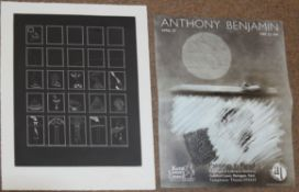 "AR Anthony Benjamin (1931-2002), ""Squares"", black and white etching, signed, dated 82 and"