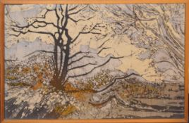 Modern School (20th century), Landscapes with trees, group of three mixed media on canvas, 45 x 70cm