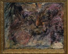 French School (20th century), Cat, oil on panel, indistinctly signed and dated lower right, 33 x