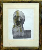 John Midgley (Contemporary), 'Head', mixed media, initialled and '03 lower right, 17 x