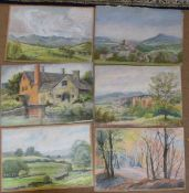 Jean Owen (20th century), Landscapes etc, group of 13 pastels, assorted sizes, all unframed (13)