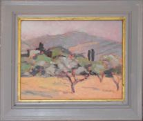 "Tony Stocker (20th century), ""Tuscany, morning light"", oil on board, signed lower right, 20 x 25cm"