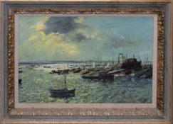 "Alistair Kilburn (contemporary), ""November morning - Keyhaven"", oil on board, signed lower right,"