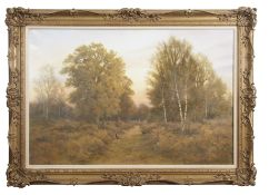 "AR Colin W Burns (born 1944), ""Woodland rise - Horsford"", oil on canvas, signed lower right and"