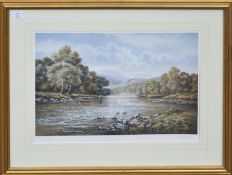 Wendy Reeves, River landscape with fishermen, coloured print, signed and numbered 285/850 in