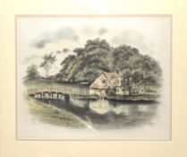 "H W Hellings, ""Flatford Bridge and cottage"", pencil and watercolour, signed, dated 1927 and"