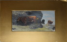 English School (19th/20th century), Cattle in a landscape, oil on board, 12 x 23cm, mounted but