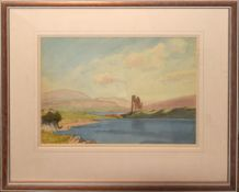 English School (20th century), Scottish loch with ruined castle, watercolour, indistinctly inscribed