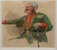 English School (20th century), Portrait of a general, watercolour, 21 x 16cm