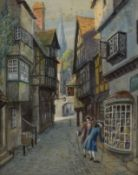 P H Yorke, Street scene in olden times, watercolour, signed lower right, 37 x 27cm