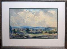 George Robert Rushton, Landscape with church, watercolour, signed lower right, 28 x 44cm