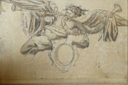 Circle of Bartolomeo Montagna, Cherub playing a pipe, pen, ink and wash, 11 x 16cm