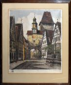 Continental School (20th century), Titled German views, pair of coloured etchings, both indistinctly