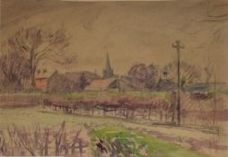 "Robert G D Alexander, ""St Thomas Church, Brentwood"", watercolour, extensively inscribed verso, 32"