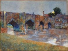 "Edward Smith, ""Moonrise, Old Bridge, Tewkesbury"", watercolour, signed lower left and inscribed"