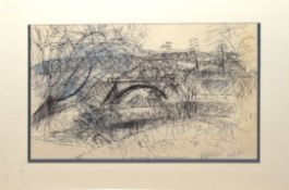 "Louis Broad, ""The Eventide near Long Hanborough"", pen, ink and wash, signed, dated 26/2/75 and"