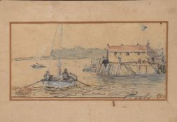 "Adolph Ragon, ""Poole 1880"", pen, ink and watercolour, signed and inscribed with title, 7 x 15cm"