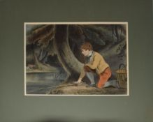 English School (19th century), Young man fishing, watercolour, 23 x 31cm, mounted but unframed