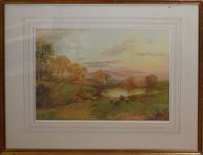J Hill, Sheep in landscape, watercolour, signed lower left, 32 x 46cm