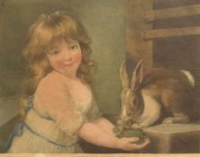 After J Russell, engraved by C Knight, Girl with rabbit, coloured aquatint, published 1792, 27 x