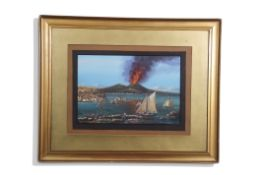 Neapolitan School (20th century), Bay of Naples with Mt Vesuvius erupting, gouache, bears