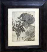 After William John Wood, Lady with flowers, black and white etching, 17 x 13cm