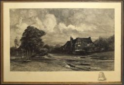 Francis S Walker, Village scene, black and white engraving, signed in pencil to lower margin, 35 x