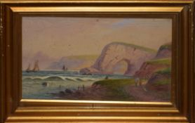 F E Jamieson, Coastal scene, watercolour, signed lower right, 23 x 38cm