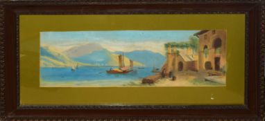 Continental School (19th century), Italianate lake scene, watercolour, 16 x 46cm