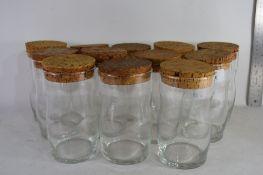 SET OF 12 GLASS KITCHEN JARS