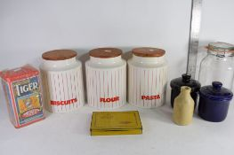 BOX OF VARIOUS KITCHEN WARES INCLUDING SET OF HORNSEA CANISTERS, WILLS GOLD FLAKE TIN ETC