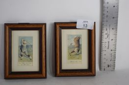 TWO SMALL FRAMED CIGARETTE CARD STYLE ILLUSTRATIONS OF GOLFING SUBJECTS