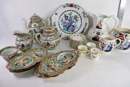 BOX CONTAINING VARIOUS CHINESE TEA POTS, ROYAL DOULTON COFFEE CANS AND SAUCERS ETC