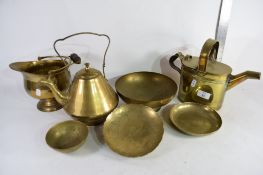 VARIOUS BRASS WARES INCLUDING WATER CAN, KETTLE ETC