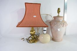 THREE VARIOUS TABLE LAMPS