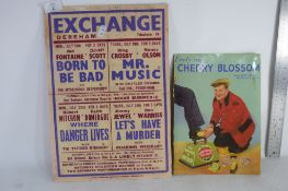 TWO VINTAGE ADVERTISING ITEMS FOR THE EXCHANGE DEREHAM, AND CHERRY BLOSSOM POLISH, LARGER WIDTH