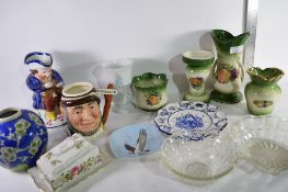 SELECTION OF VARIOUS CERAMICS INCLUDING LANCASTER SANDLAND AND OTHER CHARACTER JUGS ETC