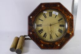 OCTAGONAL MOUNTED CLOCK MOVEMENT AND WEIGHTS