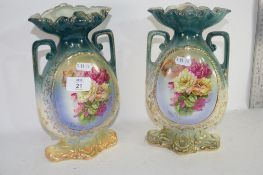 PAIR OF 19TH CENTURY FLORAL DECORATED VASES