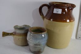 THREE VARIOUS PIECES OF EARTHENWARE