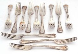 Set of twelve Victorian dessert forks in threaded Hanoverian pattern, each bearing a Gothic